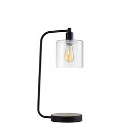 SAM Contemporary Table Lamp Metal With Glass, Black, Includes Light Bulb