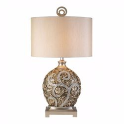 Estelle Traditional Style Table Lamp,Champagne Silver
