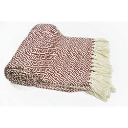 Diamond Pattern Cotton Throw With Fringed Ends, Rust-Ivory
