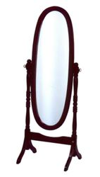 Wooden Full-Length Mirror In Cherry Red