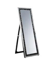 Rectangular Wooden Frame Floor Mirror with Faux Crystal Inlay, Black