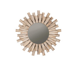 Contemporary Style Accent Mirror with Sun Burst Frame, Brown and Silver