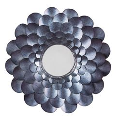 Round Metal Accent Mirror with Blooming Flower Shape, Blue and Silver