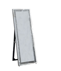 Faux Crystal Accented Wooden Floor Mirror, Clear and Silver