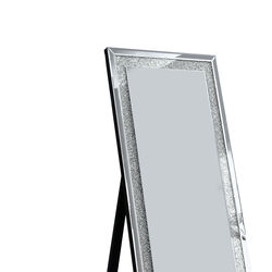 Faux Crystal Accented Wooden Framed Floor Mirror with Beveled Sides, Silver