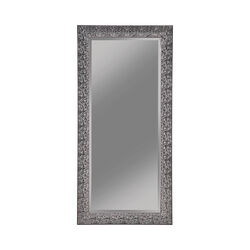 Rectangular Beveled Accent Floor Mirror with Glitter Mosaic Pattern, Gray