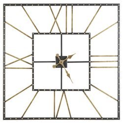 Square Open Frame Metal Wall Clock with Roman Numerals, Black and Gold