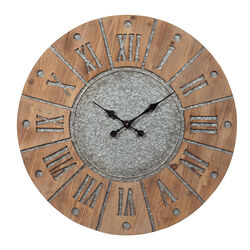 Round Wooden Frame Wall Clock with Metal Accents, Brown and Gray