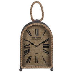 Arch Shape Metal Table Clock with Rope Edges and Handle, Gray and Brown