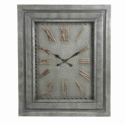 Rectangular Metal Wall Clock with Roman Numerals and Spade Hands, Gray