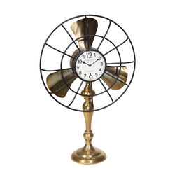 Metal Fan Style Table Clock with Pedestal Base, Small, Gold and Bronze