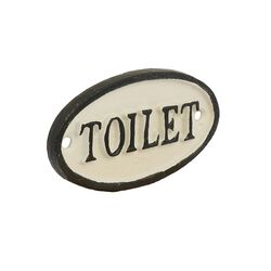 Traditional Metal Toilet Sign with Hand Painted Design, Black and White