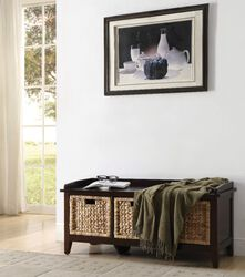 Rectangular Wooden Bench with Storage Basket, Brown
