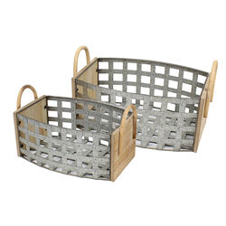 Transitional Style Tin and Wooden Woven Galvanized Basket with Two Handles, Gray, Set of Two