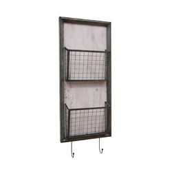Traditional Metal Two Tier Wall Basket with Two Hooks, Gray