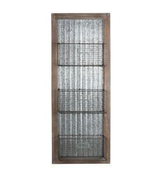 Wood and Metal Wall Organizer with 3 Mesh Baskets, Silver and Brown