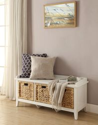 Rectangular Wooden Bench with Three Storage Baskets, White and Beige