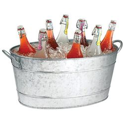Benzara Galvanized Beverage Tub With Handles, Gray