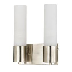 Cylindrical Dual Lighting Wall Lamp with Switch, Set of 2, Silver and White