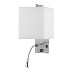 Metal Wall Lamp with Rectangular Shade and Gooseneck Reading Light, Silver
