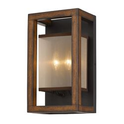 40 X 2 Watt Wooden Wall Sconce with Organza Shade, Walnut Brown
