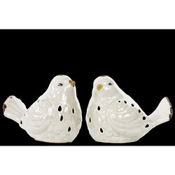 Bird Figurine with Cutout Design Assortment of Two - White - Benzara