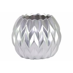 Ceramic Round Low Vase with Uneven Lip- Large- Silver- Benzara