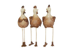 Up-Scaling Set Of 3Decorative Resin Sitting Rooster, Brown And White