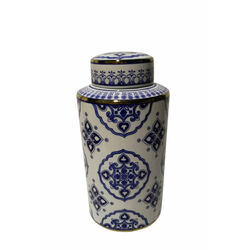 Traditional Ceramic CoveredDecorative Jar, Blue And White