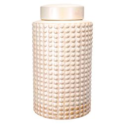 Pimpled Pattern Ceramic Jar With Lid, Peach
