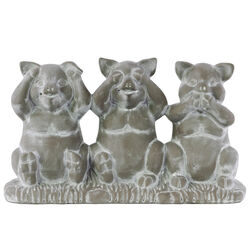 Cemented Sitting Pig No Evil Figurine On Base, Concrete Gray