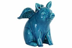 Winged Pig Sitting Figurine In Ceramic, Turquoise Blue