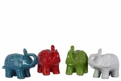 Ceramic Trumpeting And Standing Elephant Figurine, Small, Assortment Of 4, Multicolor
