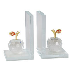 Glass Made Apple Statuette Bookend, Pair of 2, Clear and Gold