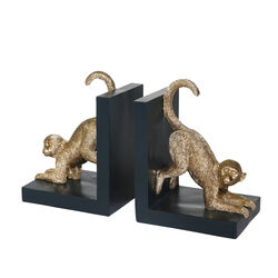 Wooden Bookend with Polyresin Monkey Figurine, Pair of 2, Black and Gold