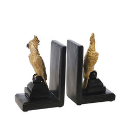 Polyresin L Shaped Cocktail Bookend with Rubber Caps, Black and Gold