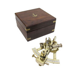 Solid Brass Sextant With Inlaid Wooden Box Nautical Accents