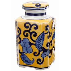 Floral Designed Yellow Jar with Lid