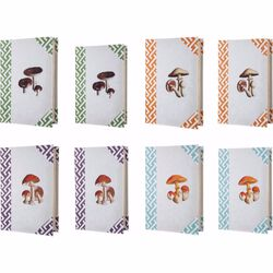 Mushroom Design Imprint Book Boxes, Set Of 8, Multicolor