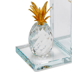 Glass Made Crystal Pineapple Bookend, Pair of 2, Gold and Clear