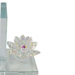 Glass Made Lotus Statuette Bookend, Pair of 2, Clear
