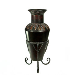 Aged Look Urn Shape Metal Planter, Brown