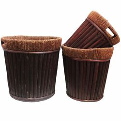Willow Round Planter, Dark Brown, Set Of 3