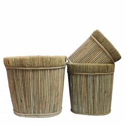 Oval Willow Planter, Beige ,Set Of 3