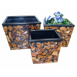 Set Of 3 Wooden Planter, Brown And Black