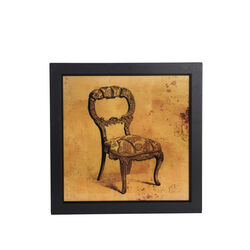 Square Shaped Vintage Chair Wall Art with Wooden Frame,Brown and Black