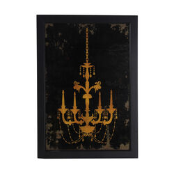 Traditional Rectangular Shaped Chandelier Wall Art, Yellow and Black