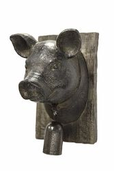 Striking Pig Head With Bell Wall Plaque, Brown