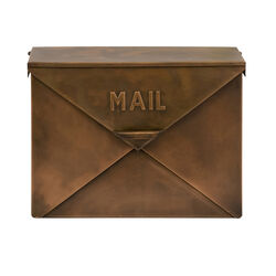 Spacious Envelope Shaped Wall Mount Iron Mail Box, Copper Finish
