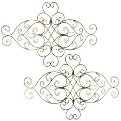 Metal WallDecor With Intricate Scroll Work Design, Assortment of Two, Gray
